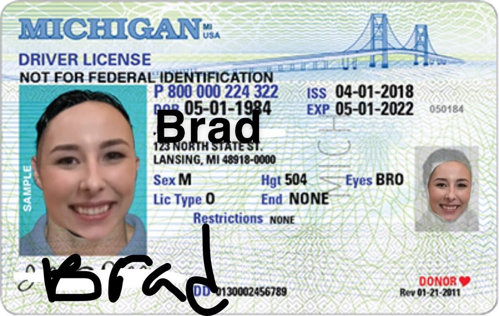 Poorly-edited photo of a fake ID with Shelby's face on a license for Brad